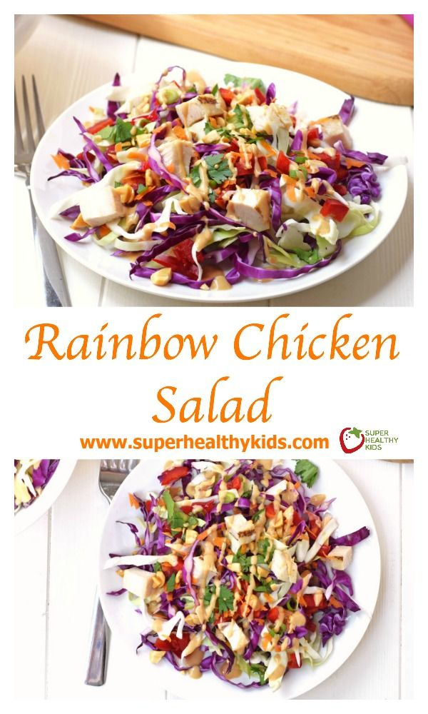 FOOD - Rainbow Chicken Salad: Adults and kids will love this colorful, healthy salad! Made with fresh veggies and a delicious homemade peanut dressing. www.superhealthykids.com/rainbow-chicken-salad
