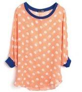 Orange Polka Dot Batwing Sleeve Curved Hem Chiffon Blouse $31.84