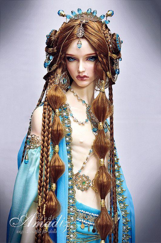 Akamie arabian fantasy hairstyle wig for BJD by AmadizStudio