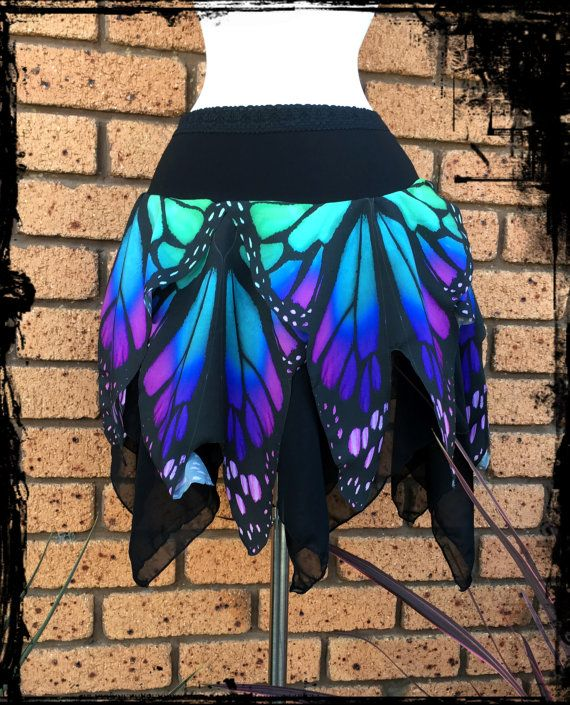 Butterfly Wing Mini Pixie Skirt - Custom made to your size - Gothic Festival…