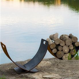 Wings of Flight Fire Wood Holder by Fire Pit Art at Timeless Wrought Iron
