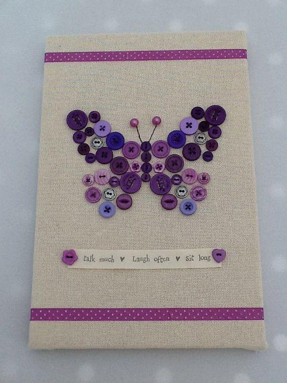 "Cute Button Wall Art Canvas, Purple Butterfly, 8""x12"""