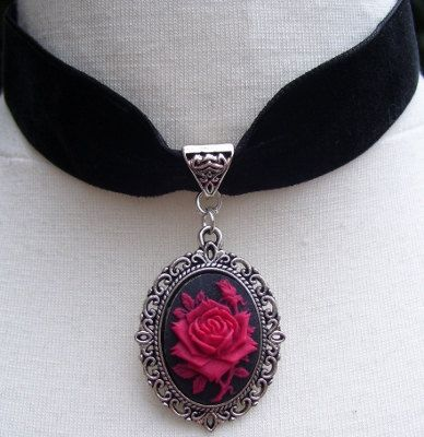Gothic Lolita Bridal Velvet And Silver Metal by Ashesclothing, $11.00