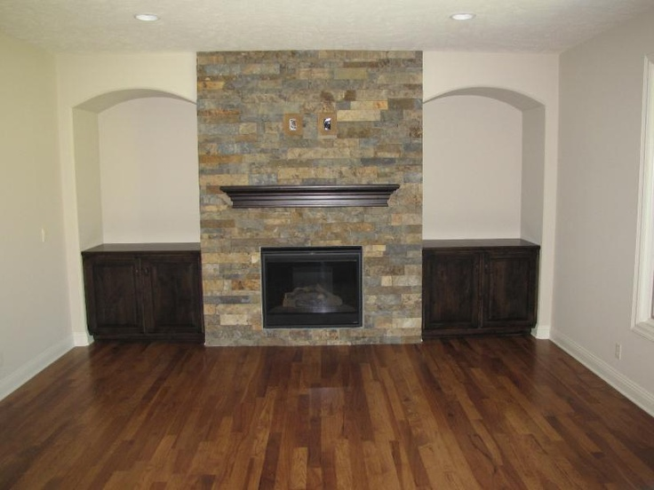 Stone Fireplace With Built In Cabinets Kitchen
