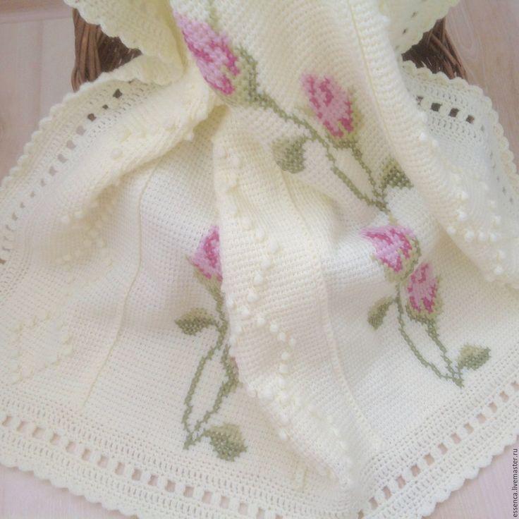 Купить Детский вязаный плед-покрывало Нежные Розы тунисское вязание+вышивка - белый, плед вязаный