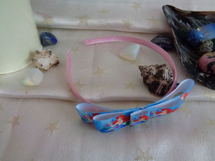 Pink satin headband with handmade the little mermaid bow. by Howittsmade on Etsy