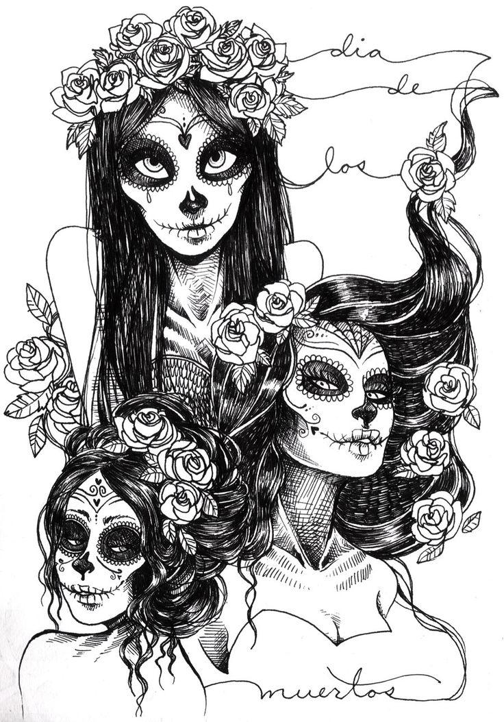 sugar skull coloring pages princess - photo#39