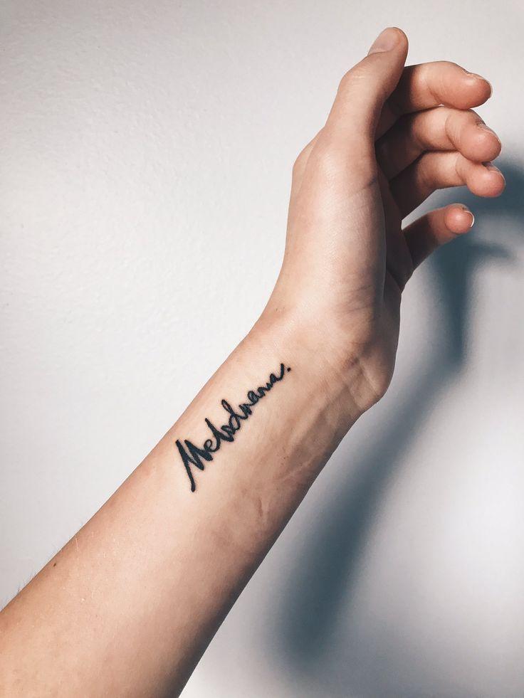 Melodrama lorde tattoo wrist tattoo inspo script tat for Dormitorio 2 50 x 2 50
