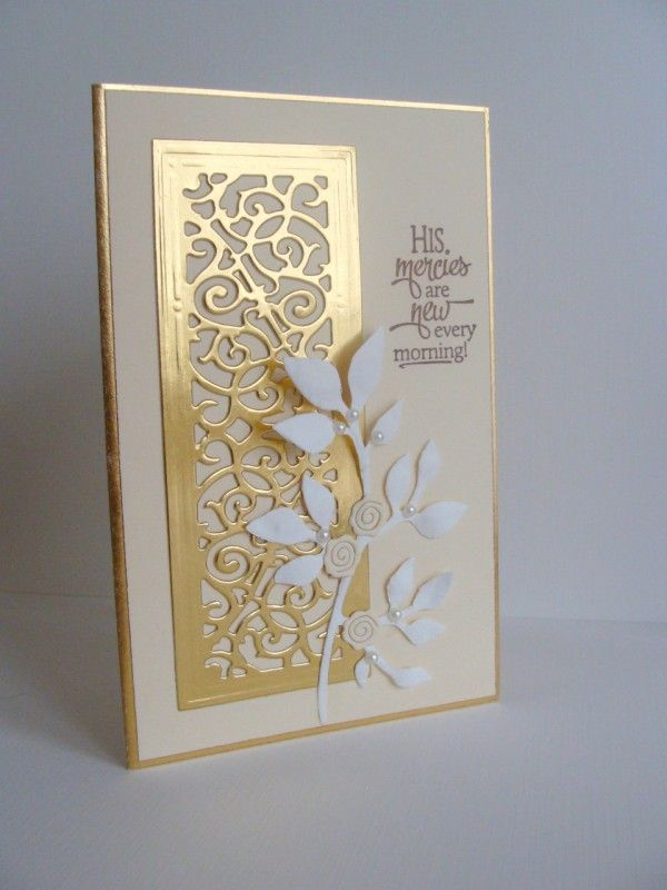 "By Audrie (girlgeek101 at Splitcoaststampers). Die cut foil sheet using Spellbinders die. Attach to ivory cardstock panel. Add ""Fresh Foliage"" die-cut (Memory Box) and embellishments. Stamp sentiment."