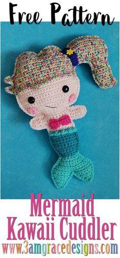 Sereia Kawaii Cuddler ™ - Padrão De Crochê Livre