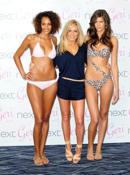 Geri Halliwell launches swimsuit line. Loving the swimsuit on the right.