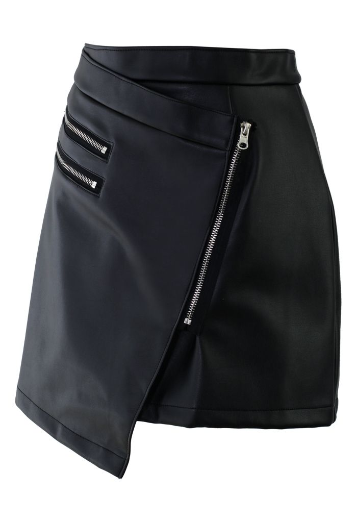 Zip Faux Leather Skirt - Retro, Indie and Unique Fashion