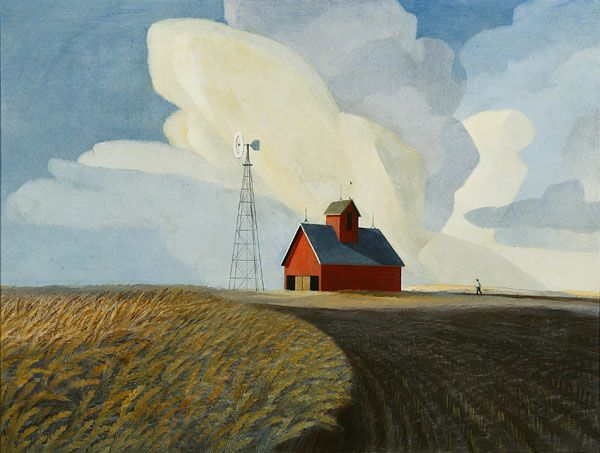Dale Nichols, Platte Valley Summer, 1969 oil on canvas, 30 x 40, Central Community College, Columbus, NE. Image courtesy of Georgia Museum of Art.Oil On Canvas, Dale Nichols, Community Colleges, Valley Summer, Barn Pictures, Barns Pictures, Red Barns, Platt Valley, Painting Barns