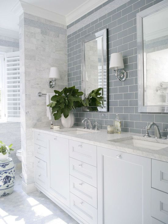 Bathroom: Glossy White Finish Beveled Ceramic Subway Tile ...
