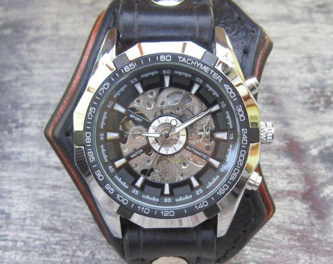 Cuero, hombres reloj, Steampunk, reloj negro