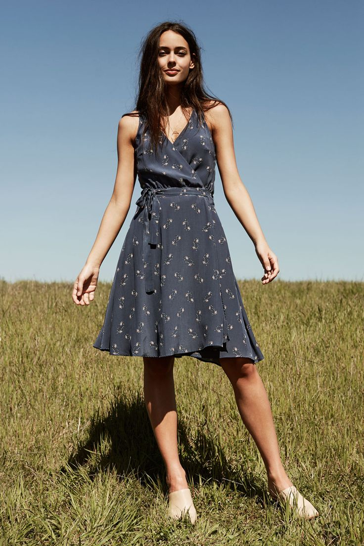 Brandy Silk Wrap Dress (Daisy) – Dresses – Amour Vert