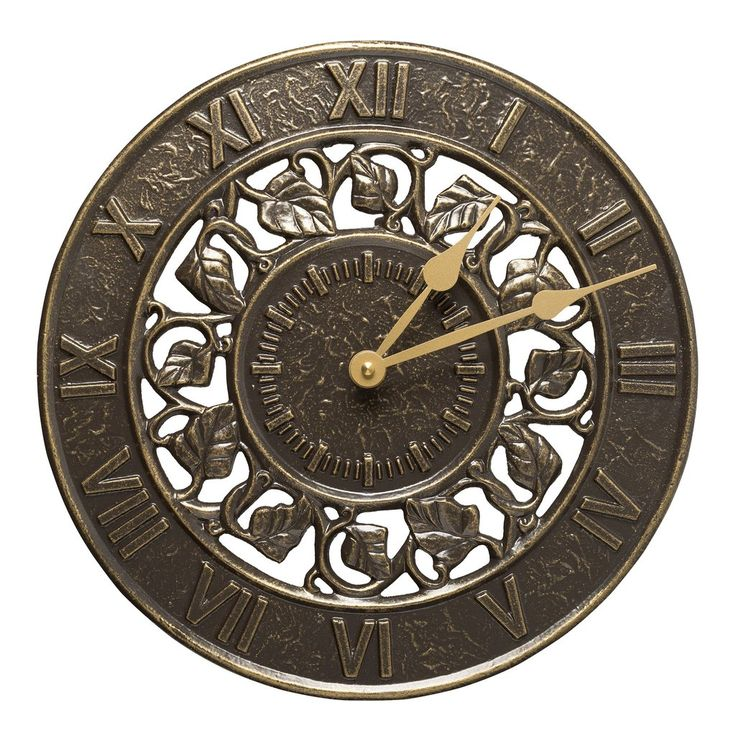"""Ivy Silhouette Clock: This 12"""" in diameter clock is made in the USA of rust-free recycled aluminum and finished with an upscale weather-resistant paint."""