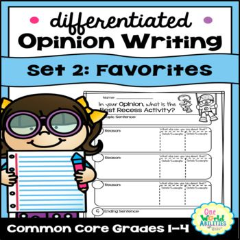 These Opinion Writing Resources were designed for differentiation & scaffolding to reach & teach students with diverse learning needs.  Custom writing printables include differentiated anchor charts & planning organizers for idea development as well as several choices of writing pages across multiple opinion & persuasive writing topics.  Elementary common core aligned (CCSS.ELA-Literacy.W.1.1;  CCSS.ELA-Literacy.W.2.1;  CCSS.ELA-Literacy.W.3.1 A, B, C, D;  CCSS.ELA-Literacy.W.4.1 A, B, C…