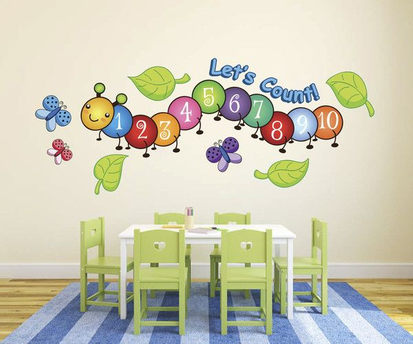 Cute centipede number count butterflies wall decals from for Preschool wall art ideas