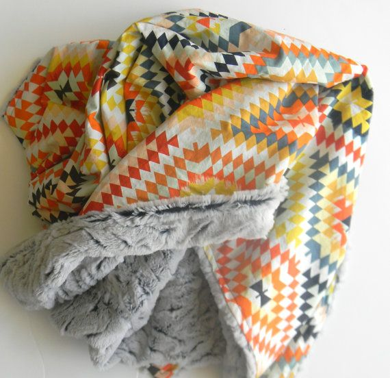 "Modern Minky Blanket, Baby/Child Blanket- Bold Aztec Blanket- Colorful Aztec- Stroller Blanket- Nursery Bedding- Size 42 x 35"""