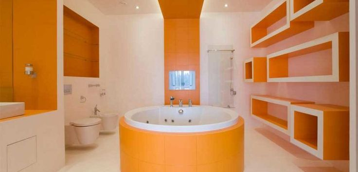 Orange-Bathroom-Paint-Ideas-with-orange-round-bathtub-the-middle-as-well-soft-lighting-idea-in-ceiling-along-with-creative-shleves-on-the-wall-decor-also-glass-shower-corner