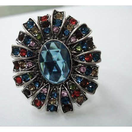Ring Oval Multi Teal