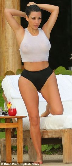 Kim Kardashian cools off in see-through bathing suit in photos from Mexico honeymoon | Mail Online