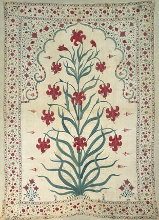 Wall Hanging. Cotton, embroidered with silk. India, Mughal Period, late 17th century.