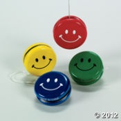 """Smile Face Yo-Yos, include message: """"God will be there though all your ups and downs."""""""