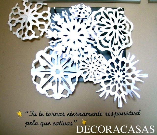 Flocos de neve de papel - ideias de Natal custo ZERO! www.decoracasas.com.br