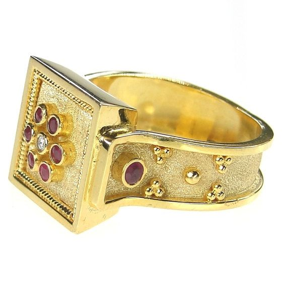 Byzantine Ring 18k Gold Ruby Flower Square by ParthenonGreekJewelr
