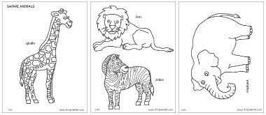 Free printable giraffe, lion, zebra, and elephant to color and use for crafts.