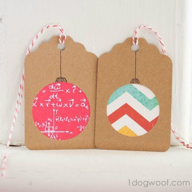 Round Scrapbook Paper Ornament Gift Tags | Ideas For Fun and Creative DIY Christmas Gift Tags