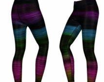 MY MANTRA leggings - Colour/Printed Yoga/Gym/Active leggings, black & multi colour. (Aurora leggings)