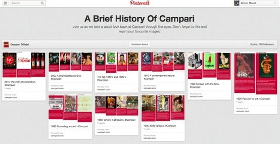 Campari global Pinterest page.