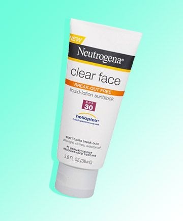 Best Drugstore Facial Sunscreen  Neutrogena Clear Face Sunscreen SPF 55, $11.99, offers broad spectrum UV protection in a formulation that will not break you out. This product also contains compounds called acrylates, which help keep the sunscreen on the skin in a similar way that glue sticks to a surface.