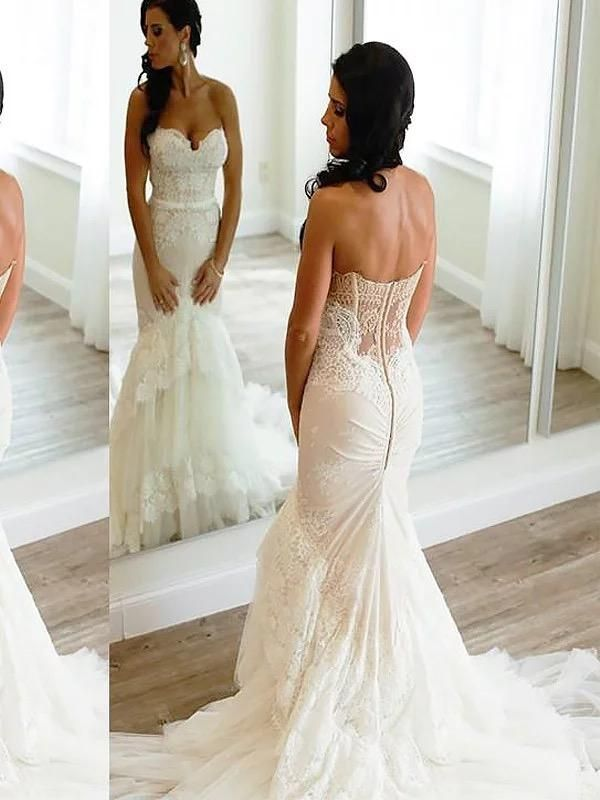 f1a70b48e194 Vintage lace mermaid wedding dresses. Strapless sweetheart neck rustic  mermaid wedding dress.