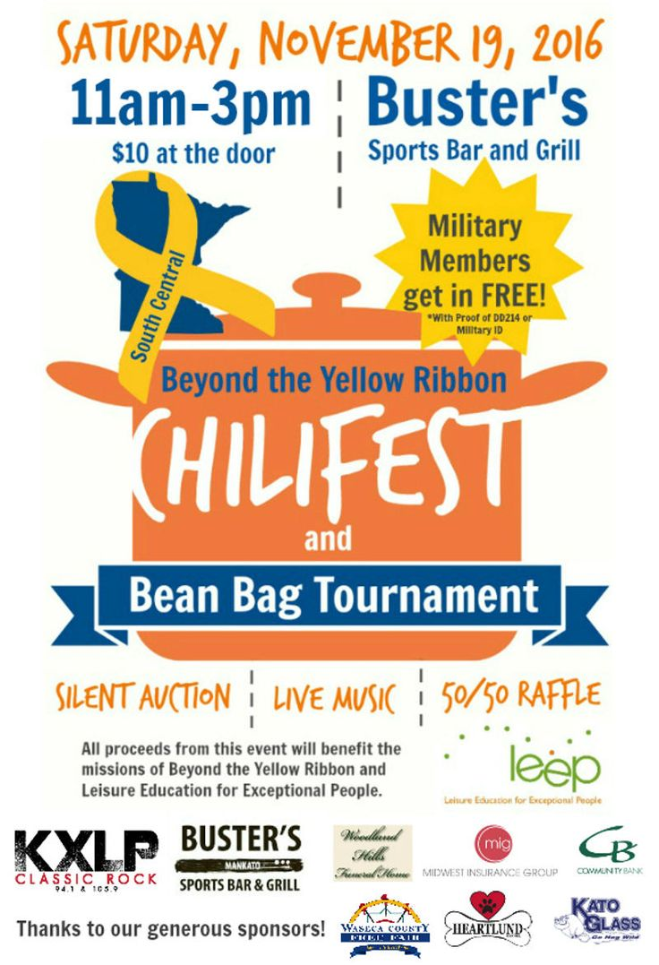 LEEP and South Central Beyond the Yellow Ribbon are Bringing Chilifest Back Mankato Times MANKATO, MINN. --- On Saturday, November 19, 2016 LEEP and Beyond the Yellow Ribbon are partnering up to host Mankato Chilifest. The event will be held from 11:00 am - 3:00 pm at Buster's Sports Bar and Grill, 1325 E. Madison…