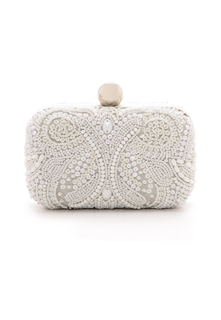 Santi | Box Clutch with Embroidered Beading | WedLuxe Magazine #weddingclutch #santi