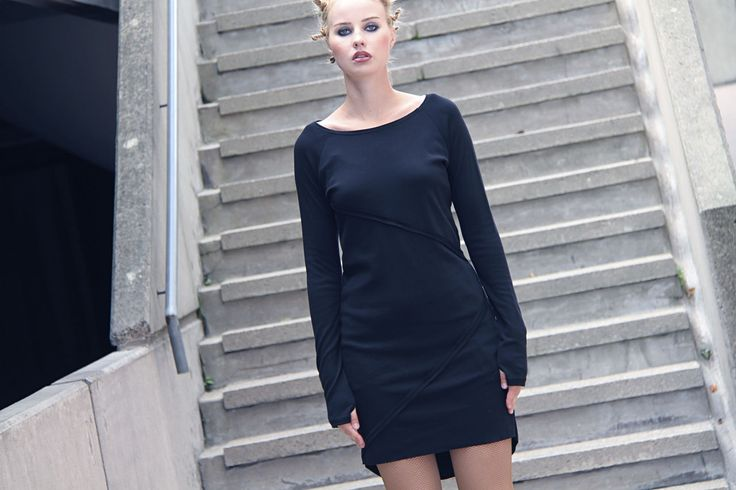 Black dress with diagonal seam detailing by Vietto