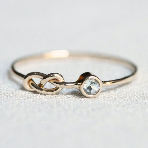 Choose a Stone - SOLID 14k White or Yellow Gold - Tiny Birthstone Stacking Ring - Infinity Knot and Stone of Your Choice - Delicate Jewelry