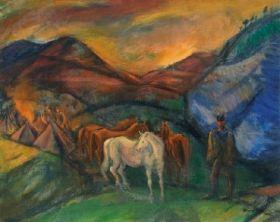 Márffy Ödön - Táborozás (Lovasok a völgyben), 1917 körül