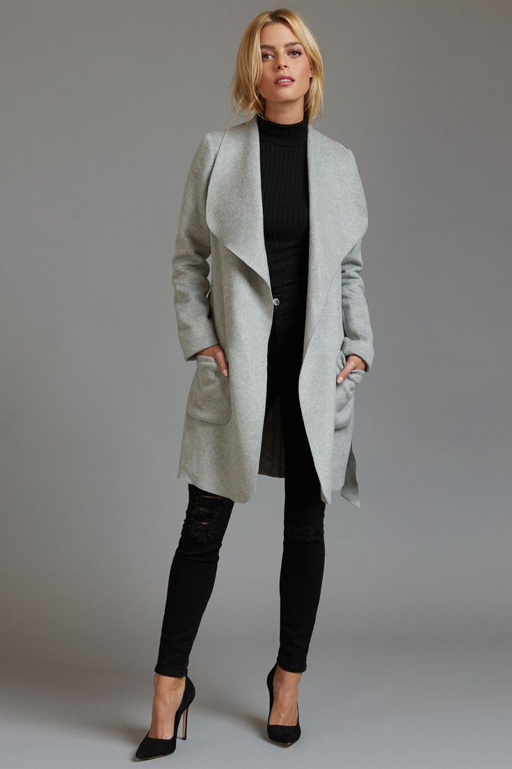 Transition from falling leaves to falling snow with this luxe belted waterfall wool coat.