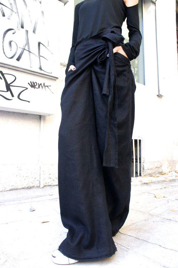 Negro lino suelto pantalones / pantalones extravagantes por Aakasha