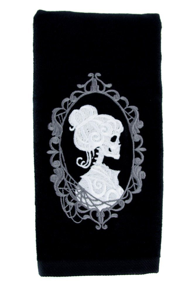 haunted mansion hers skeleton halloween hand towel kitchen and bath gothic home decor - Halloween Bathroom Decor