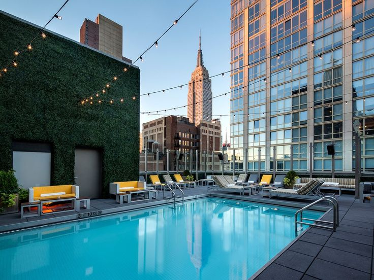 On the corner of 29th Street and Park Avenue in the NoMad district, the Gansevoort is home to 249 colorful, Andi Pepper-designed rooms with city views. Upstairs, there's an indoor/outdoor rooftop pool—complete with glass bottom floors for peering down on Park Avenue—and a multi-level rooftop bar that looks on to the Empire State building.