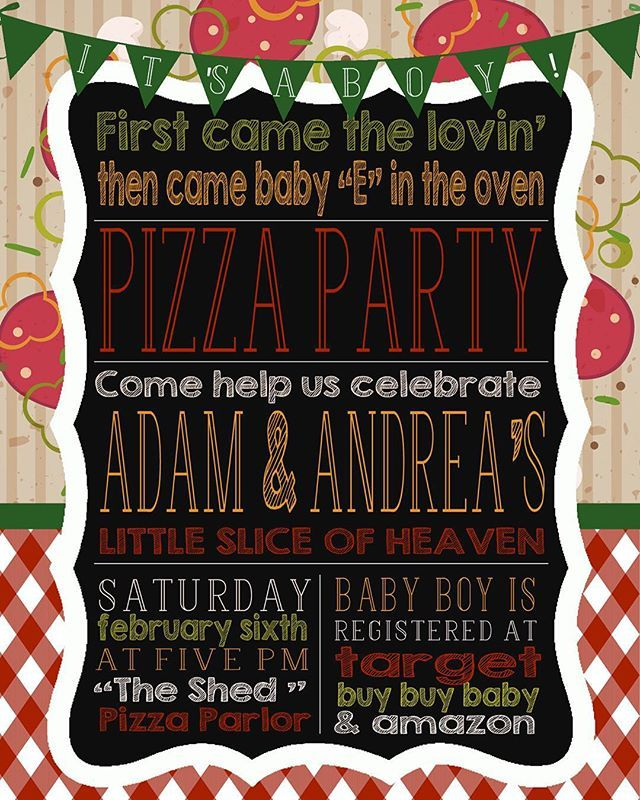 Baby shower couples pizza party invite for @maggieethier