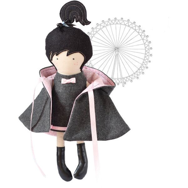 Hooded Girl Doll Cape Hooded Coat Reversable Gray Wool to Pink White... (4.455 HUF) ❤ liked on Polyvore
