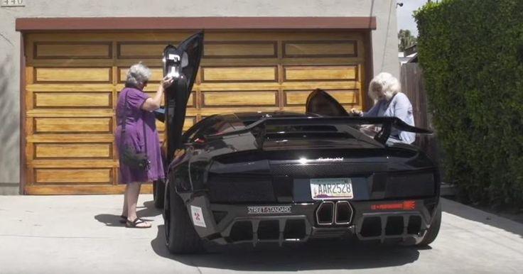 Se vad som händer när 2 tanter sätter sig i en Lamborghini värd 1,8 miljoner kronor