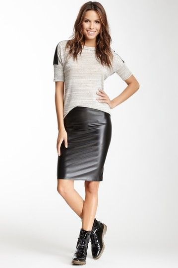 faux leather pencil skirt by renee c on hautelook leather